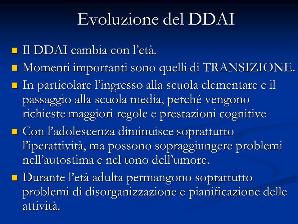 Evoluzione del DDAI Il DDAI cambia con l'età. Il DDAI cambia con l'età. Momenti importanti sono quelli di TRANSIZIONE. Momenti importanti sono quelli