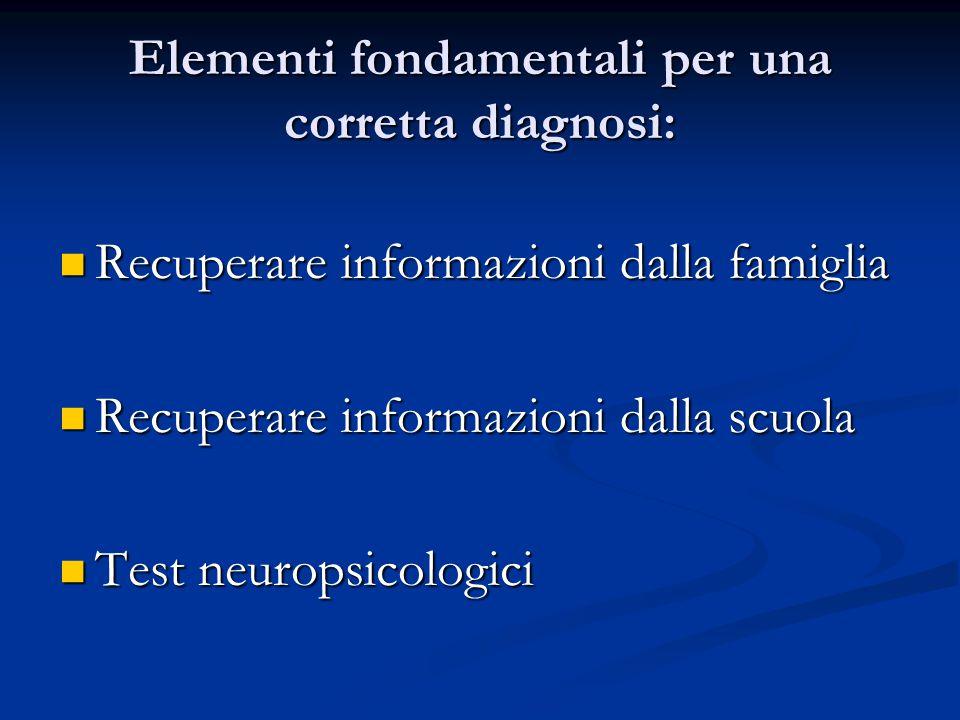 Elementi fondamentali per una corretta diagnosi: Recuperare informazioni dalla famiglia Recuperare informazioni dalla famiglia Recuperare informazioni dalla scuola Recuperare informazioni dalla scuola Test neuropsicologici Test neuropsicologici