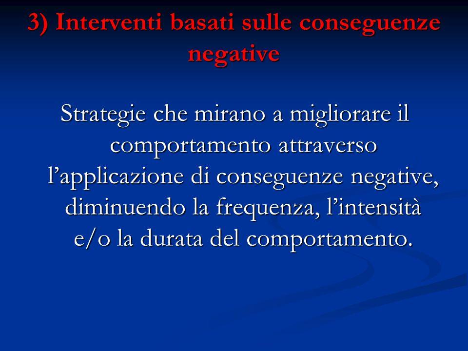3) Interventi basati sulle conseguenze negative Strategie che mirano a migliorare il comportamento attraverso l'applicazione di conseguenze negative, diminuendo la frequenza, l'intensità e/o la durata del comportamento.