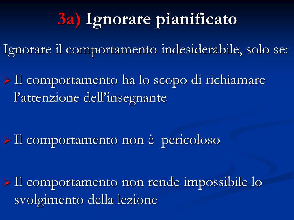 3a) Ignorare pianificato Ignorare il comportamento indesiderabile, solo se:  Il comportamento ha lo scopo di richiamare l'attenzione dell'insegnante