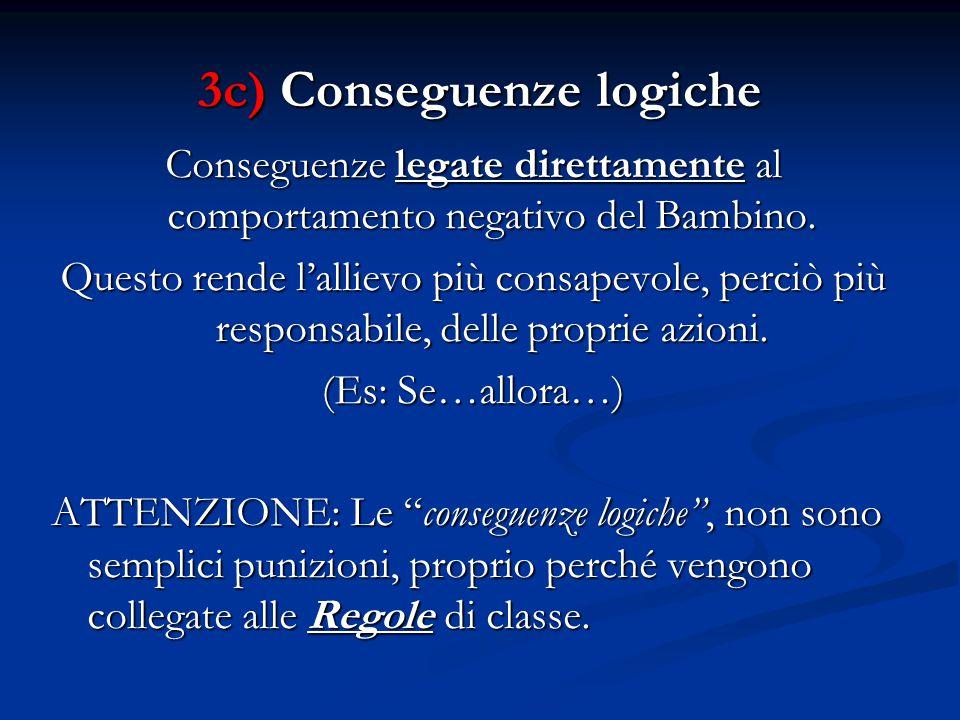 3c) Conseguenze logiche Conseguenze legate direttamente al comportamento negativo del Bambino.