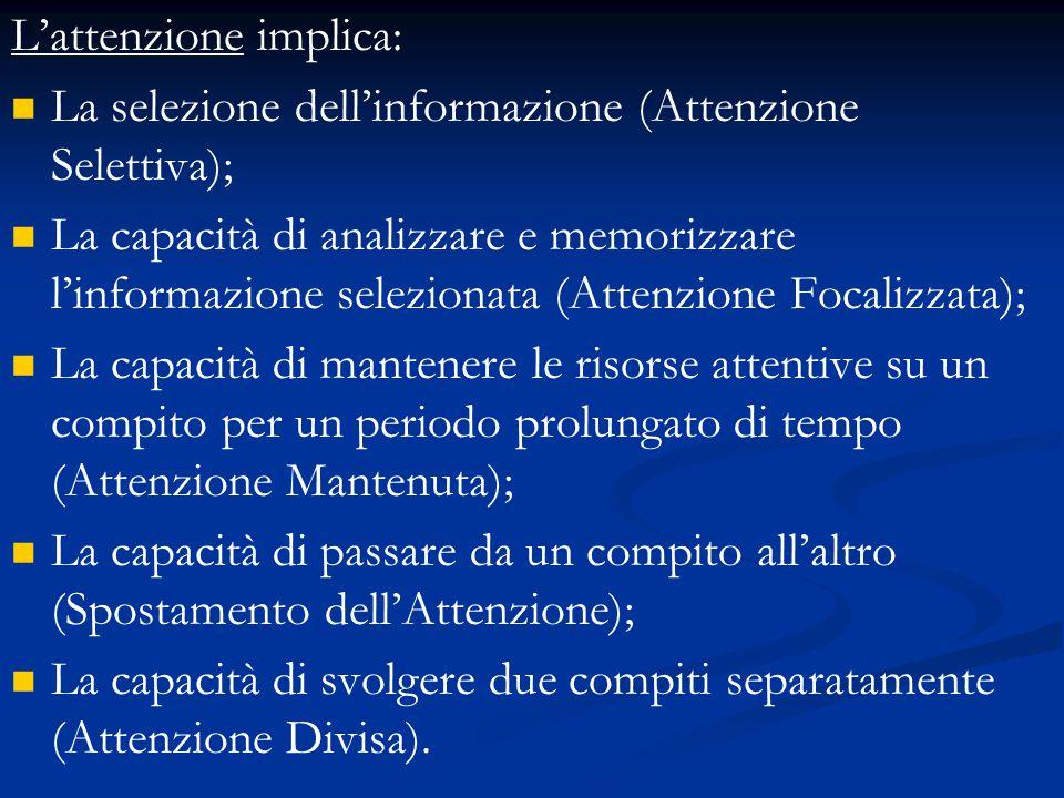 L'attenzione implica: La selezione dell'informazione (Attenzione Selettiva); La capacità di analizzare e memorizzare l'informazione selezionata (Atten