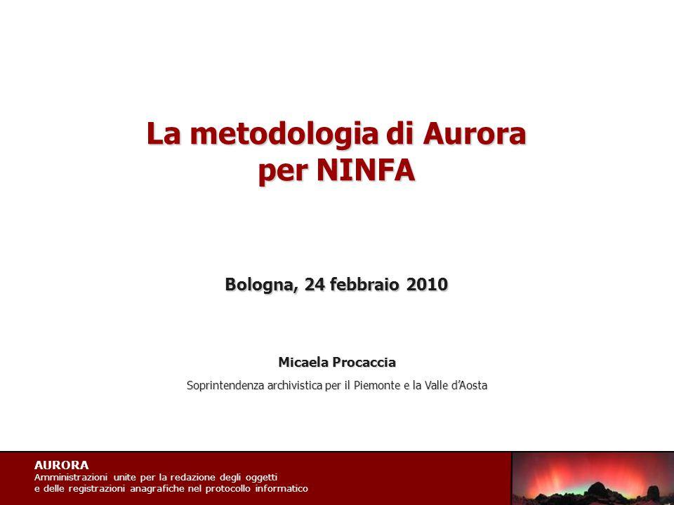 AURORA Amministrazioni unite per la redazione degli oggetti e delle registrazioni anagrafiche nel protocollo informatico La metodologia di Aurora per