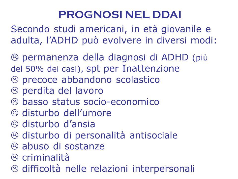 PROGNOSI NEL DDAI   permanenza della diagnosi di ADHD (più del 50% dei casi), spt per Inattenzione  precoce abbandono scolastico  perdita del lavo