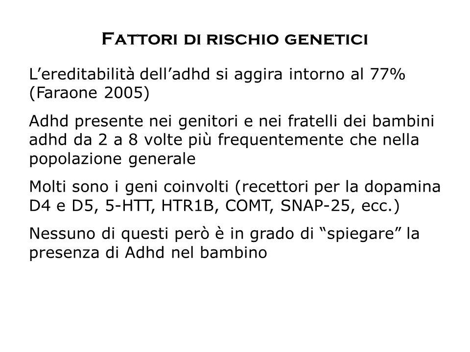 Fattori di rischio genetici L'ereditabilità dell'adhd si aggira intorno al 77% (Faraone 2005) Adhd presente nei genitori e nei fratelli dei bambini ad