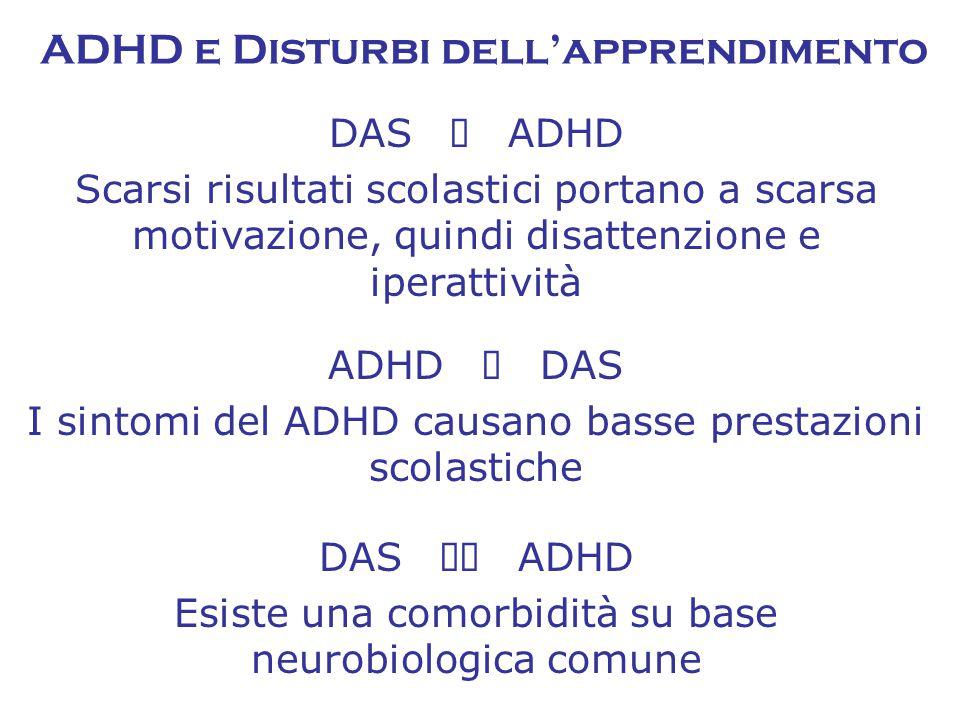 ADHD e Disturbi dell'apprendimento DAS  ADHD Scarsi risultati scolastici portano a scarsa motivazione, quindi disattenzione e iperattività ADHD  DAS I sintomi del ADHD causano basse prestazioni scolastiche DAS  ADHD Esiste una comorbidità su base neurobiologica comune