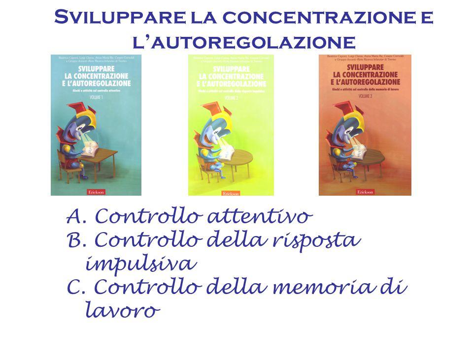 A. Controllo attentivo B. Controllo della risposta impulsiva C. Controllo della memoria di lavoro Sviluppare la concentrazione e l'autoregolazione