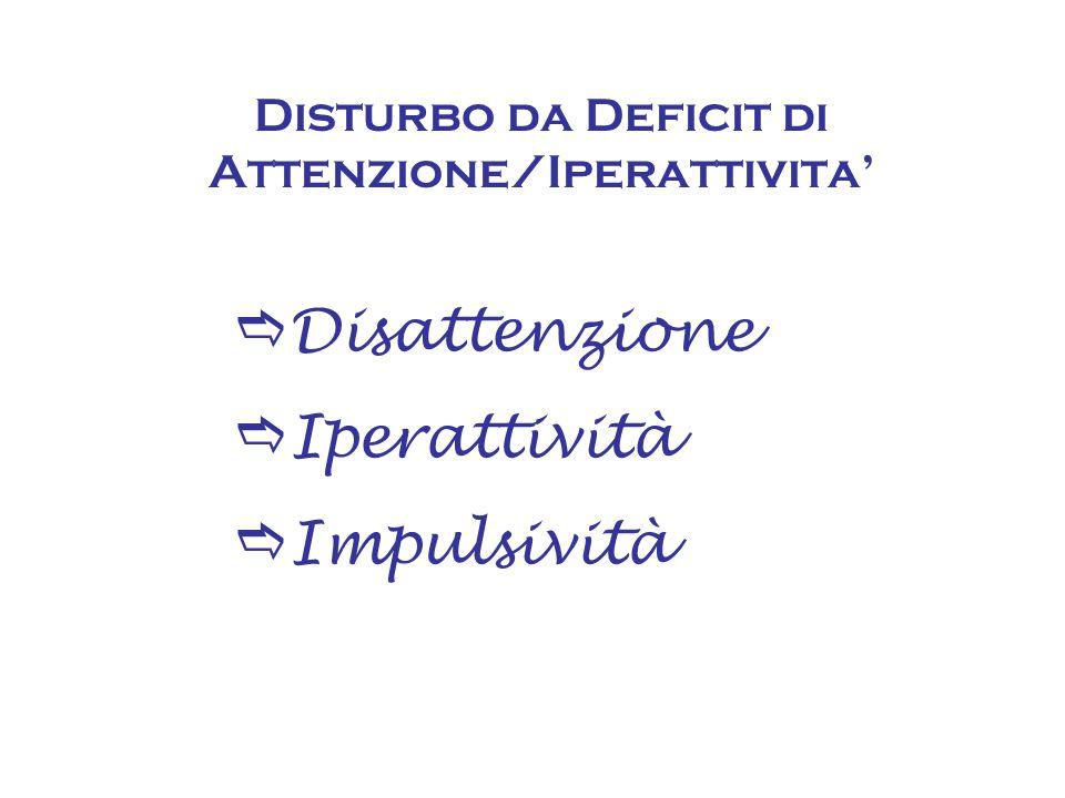  Disattenzione  Iperattività  Impulsività Disturbo da Deficit di Attenzione/Iperattivita'