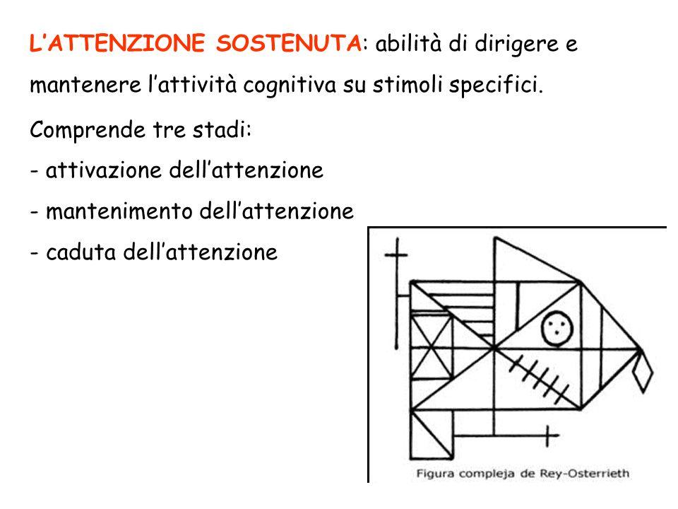 L'ATTENZIONE SOSTENUTA: abilità di dirigere e mantenere l'attività cognitiva su stimoli specifici. Comprende tre stadi: - attivazione dell'attenzione