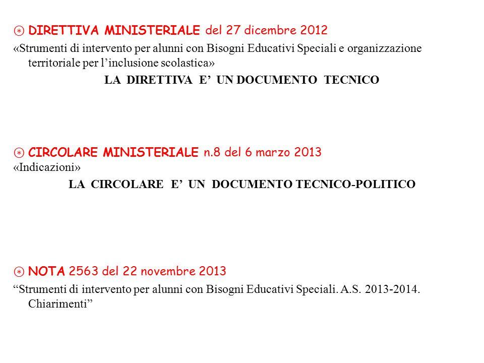 ⊛ DIRETTIVA MINISTERIALE del 27 dicembre 2012 «Strumenti di intervento per alunni con Bisogni Educativi Speciali e organizzazione territoriale per l'i