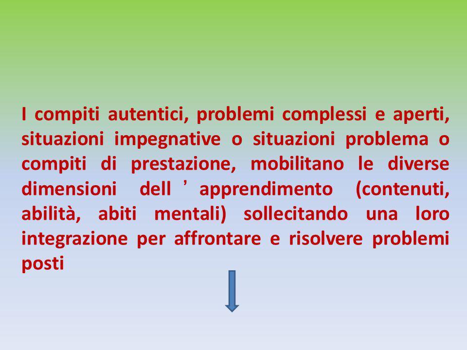 I compiti autentici, problemi complessi e aperti, situazioni impegnative o situazioni problema o compiti di prestazione, mobilitano le diverse dimensi