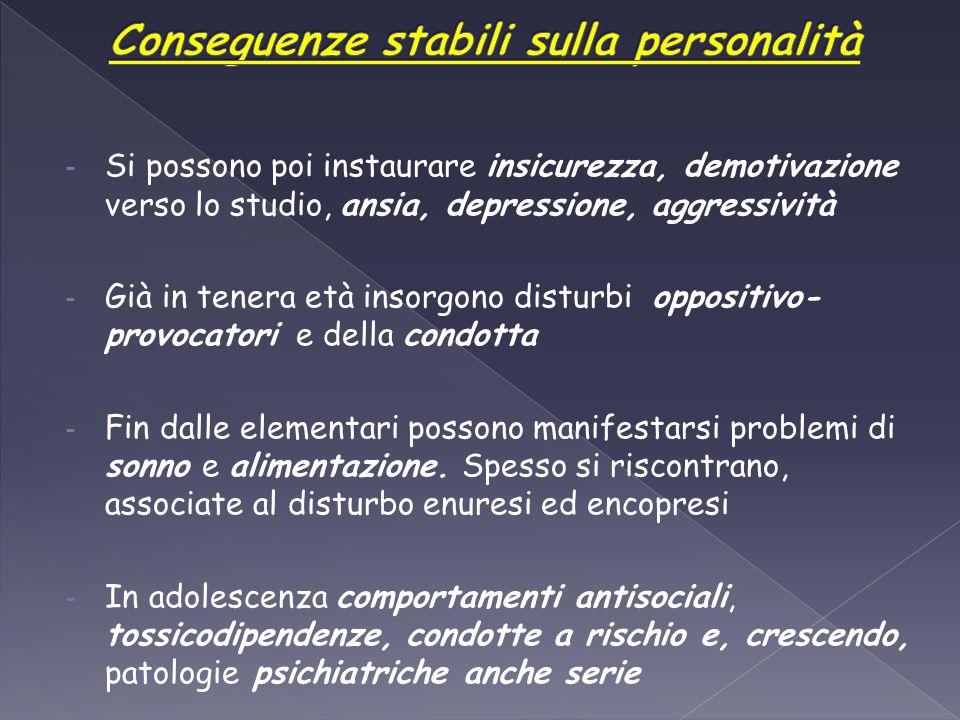 - Si possono poi instaurare insicurezza, demotivazione verso lo studio, ansia, depressione, aggressività - Già in tenera età insorgono disturbi opposi