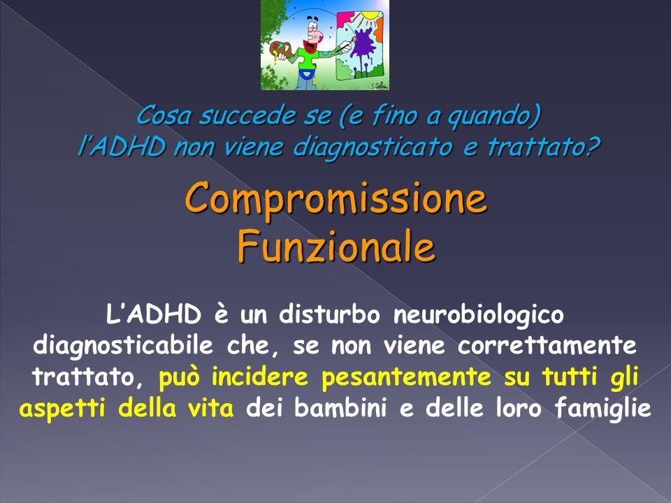 CompromissioneFunzionale L'ADHD è un disturbo neurobiologico diagnosticabile che, se non viene correttamente trattato, può incidere pesantemente su tu