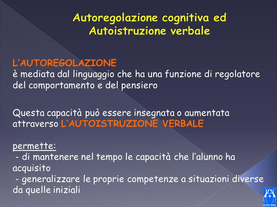 L'AUTOREGOLAZIONE è mediata dal linguaggio che ha una funzione di regolatore del comportamento e del pensiero Questa capacità può essere insegnata o a