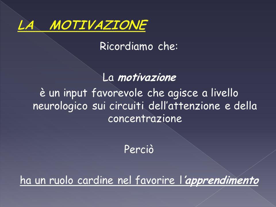 Ricordiamo che: La motivazione è un input favorevole che agisce a livello neurologico sui circuiti dell'attenzione e della concentrazione Perciò ha un