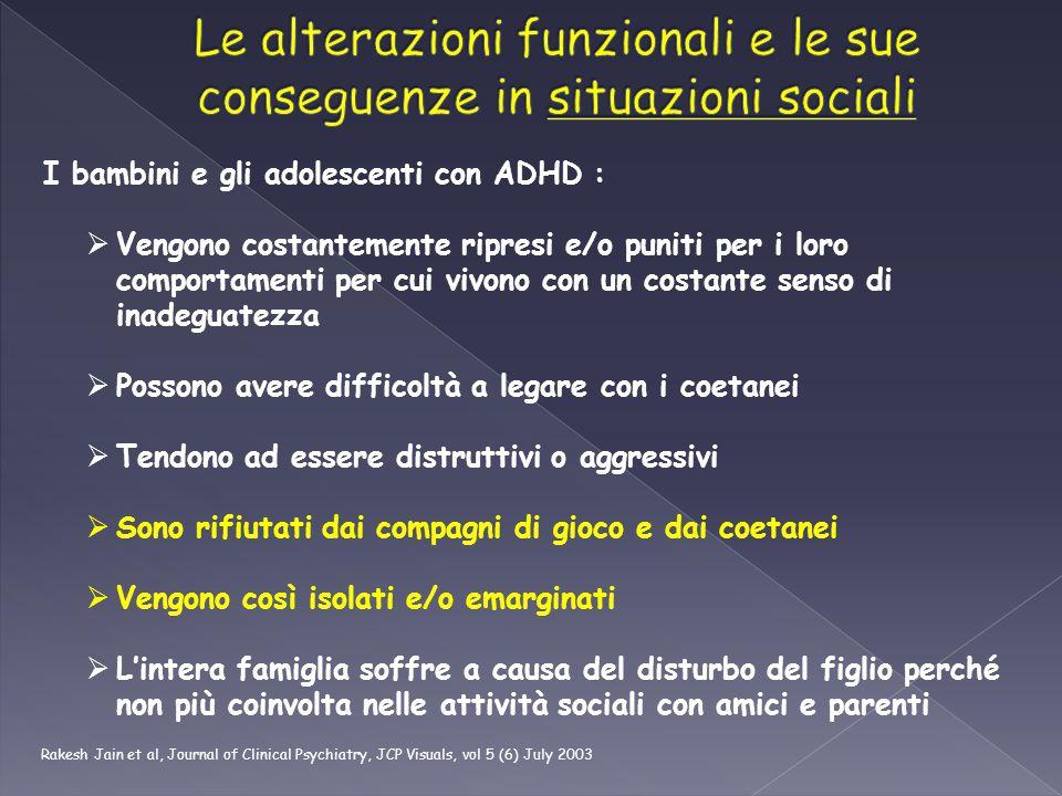 I bambini e gli adolescenti con ADHD :  Vengono costantemente ripresi e/o puniti per i loro comportamenti per cui vivono con un costante senso di ina