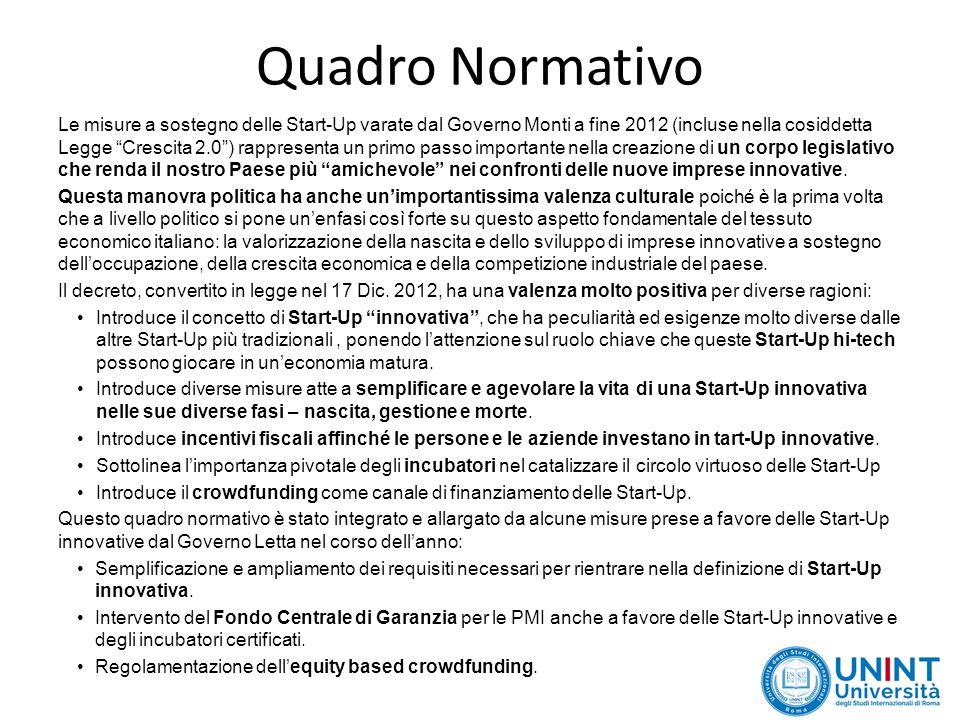 Quadro Normativo Le misure a sostegno delle Start-Up varate dal Governo Monti a fine 2012 (incluse nella cosiddetta Legge Crescita 2.0 ) rappresenta un primo passo importante nella creazione di un corpo legislativo che renda il nostro Paese più amichevole nei confronti delle nuove imprese innovative.
