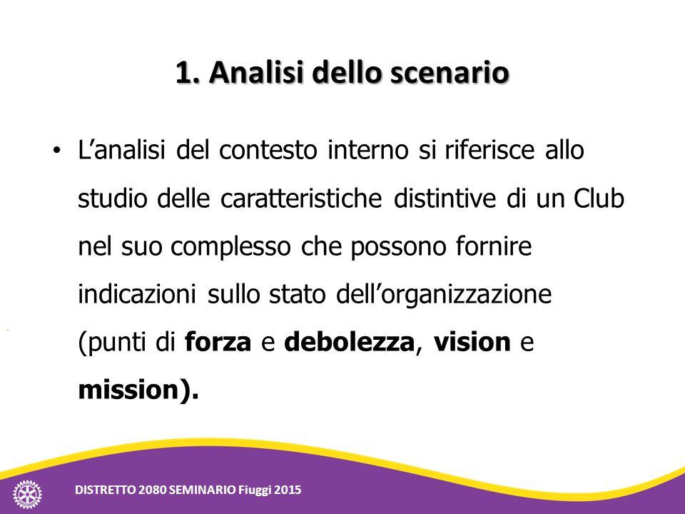 1.Analisi dello scenario 1. Analisi dello scenario L'analisi del contesto interno si riferisce allo studio delle caratteristiche distintive di un Club