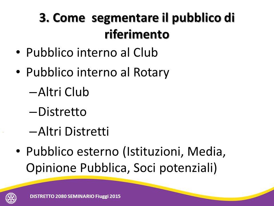 3. Come segmentare il pubblico di riferimento Pubblico interno al Club Pubblico interno al Rotary – Altri Club – Distretto – Altri Distretti Pubblico