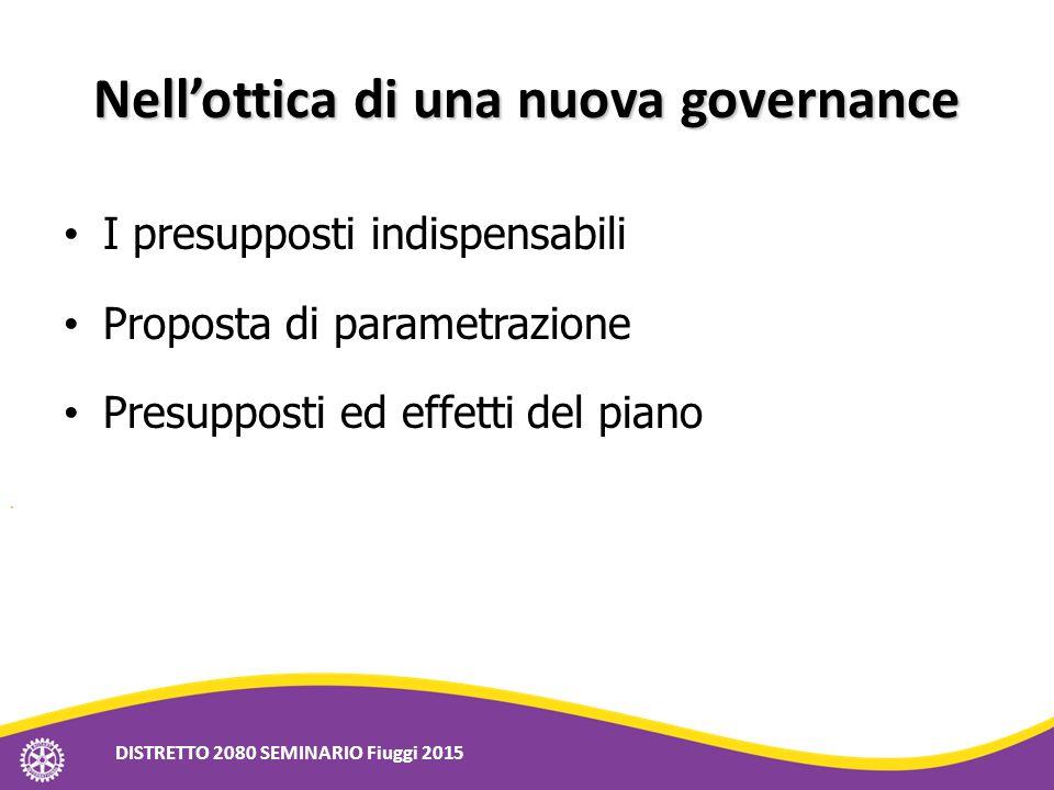 Nell'ottica di una nuova governance I presupposti indispensabili Proposta di parametrazione Presupposti ed effetti del piano DISTRETTO 2080 SEMINARIO