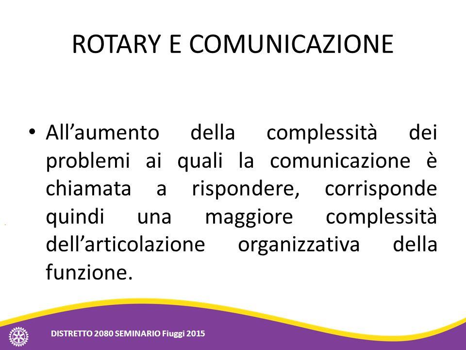 ROTARY E COMUNICAZIONE All'aumento della complessità dei problemi ai quali la comunicazione è chiamata a rispondere, corrisponde quindi una maggiore c
