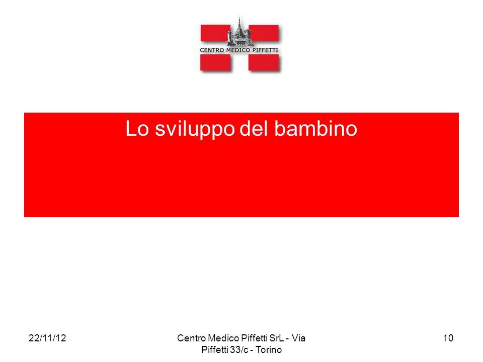 22/11/12Centro Medico Piffetti SrL - Via Piffetti 33/c - Torino 10 Lo sviluppo del bambino