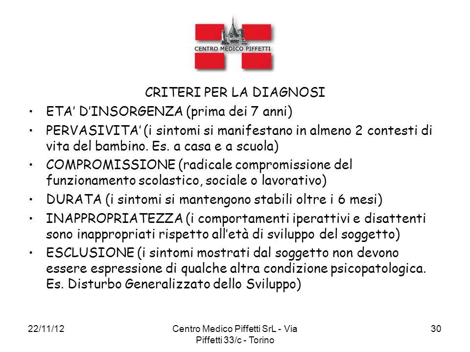 22/11/12Centro Medico Piffetti SrL - Via Piffetti 33/c - Torino 30 CRITERI PER LA DIAGNOSI ETA' D'INSORGENZA (prima dei 7 anni) PERVASIVITA' (i sintom