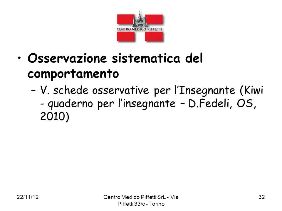 22/11/12Centro Medico Piffetti SrL - Via Piffetti 33/c - Torino 32 Osservazione sistematica del comportamento –V. schede osservative per l'Insegnante