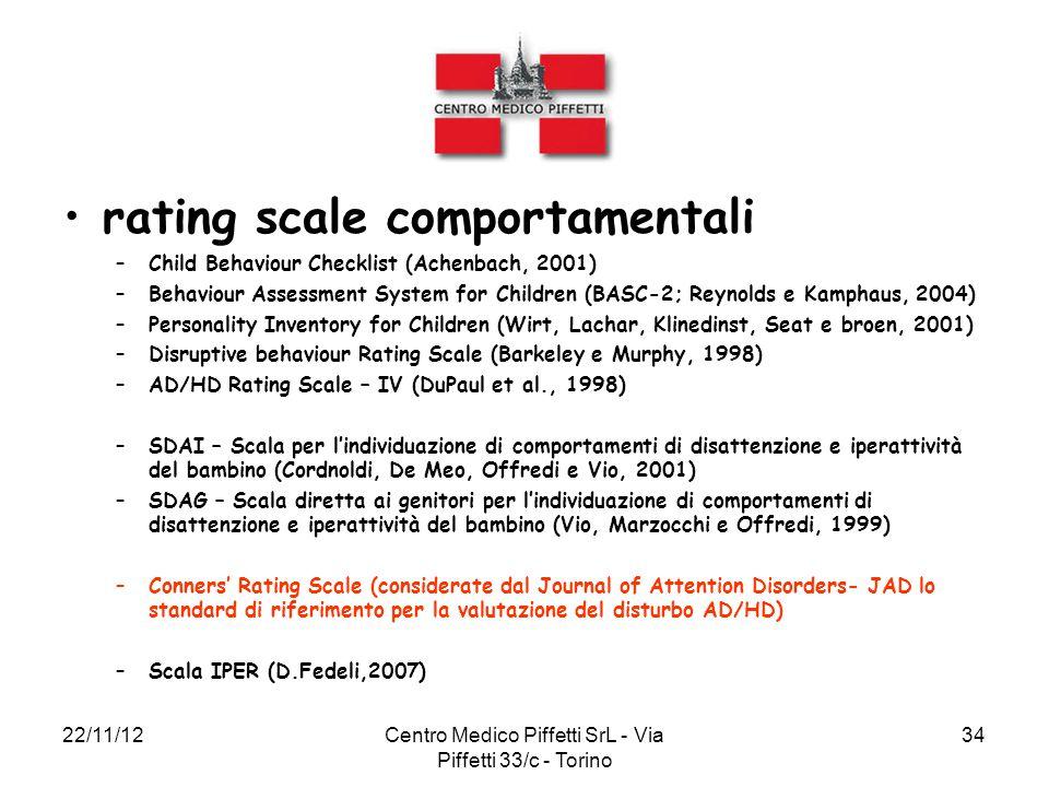 22/11/12Centro Medico Piffetti SrL - Via Piffetti 33/c - Torino 34 rating scale comportamentali –Child Behaviour Checklist (Achenbach, 2001) –Behaviou