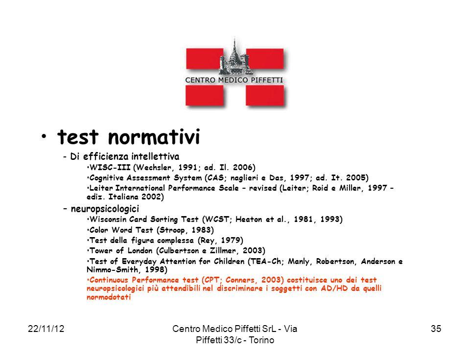 22/11/12Centro Medico Piffetti SrL - Via Piffetti 33/c - Torino 35 test normativi – Di efficienza intellettiva WISC-III (Wechsler, 1991; ad. Il. 2006)