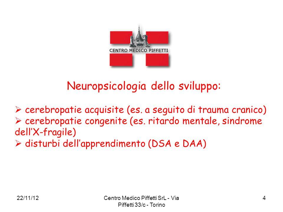 22/11/12Centro Medico Piffetti SrL - Via Piffetti 33/c - Torino 4 Neuropsicologia dello sviluppo:  cerebropatie acquisite (es. a seguito di trauma cr