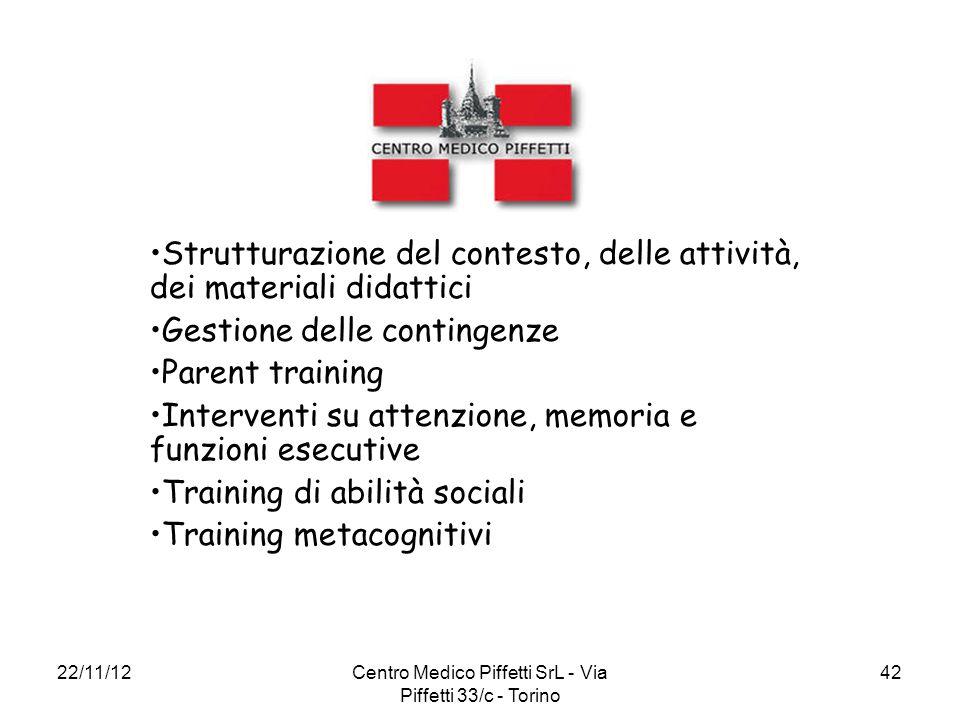 22/11/12Centro Medico Piffetti SrL - Via Piffetti 33/c - Torino 42 Strutturazione del contesto, delle attività, dei materiali didattici Gestione delle