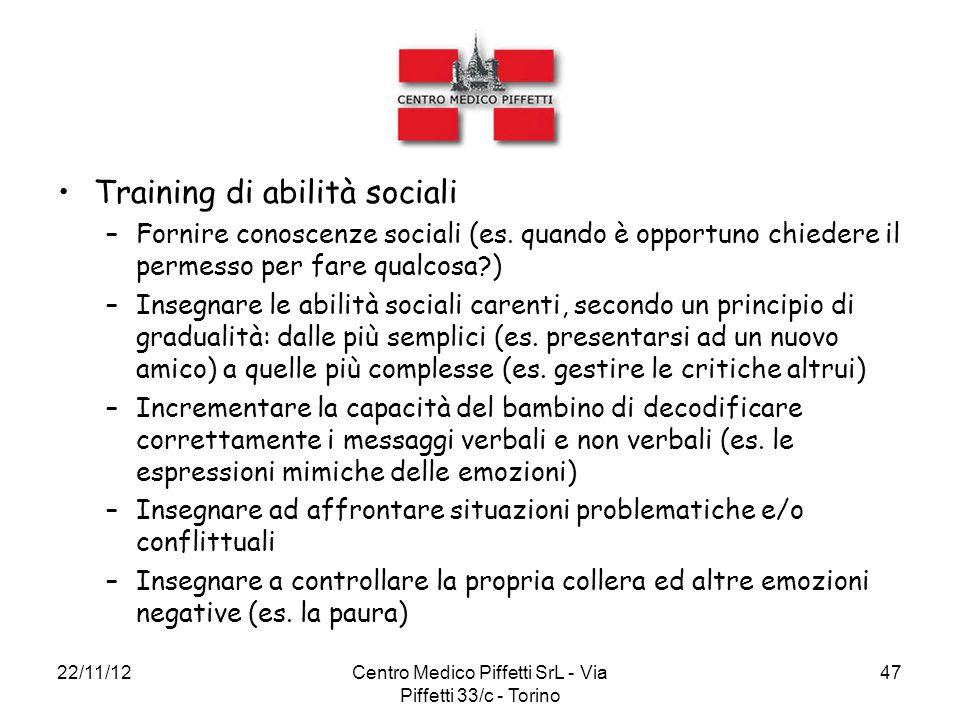 22/11/12Centro Medico Piffetti SrL - Via Piffetti 33/c - Torino 47 Training di abilità sociali –Fornire conoscenze sociali (es. quando è opportuno chi