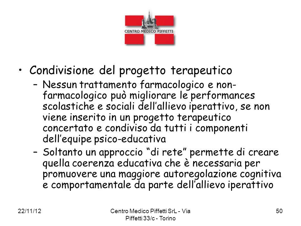 22/11/12Centro Medico Piffetti SrL - Via Piffetti 33/c - Torino 50 Condivisione del progetto terapeutico –Nessun trattamento farmacologico e non- farm