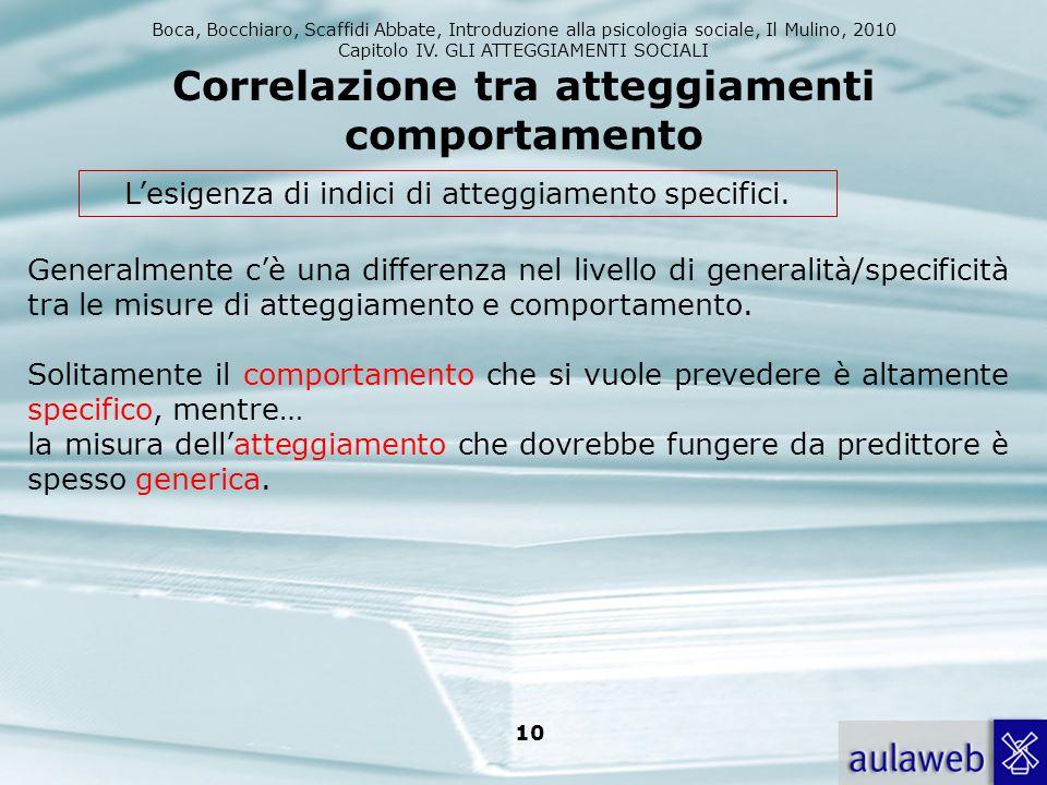 Boca, Bocchiaro, Scaffidi Abbate, Introduzione alla psicologia sociale, Il Mulino, 2010 Capitolo IV. GLI ATTEGGIAMENTI SOCIALI 10 Correlazione tra att