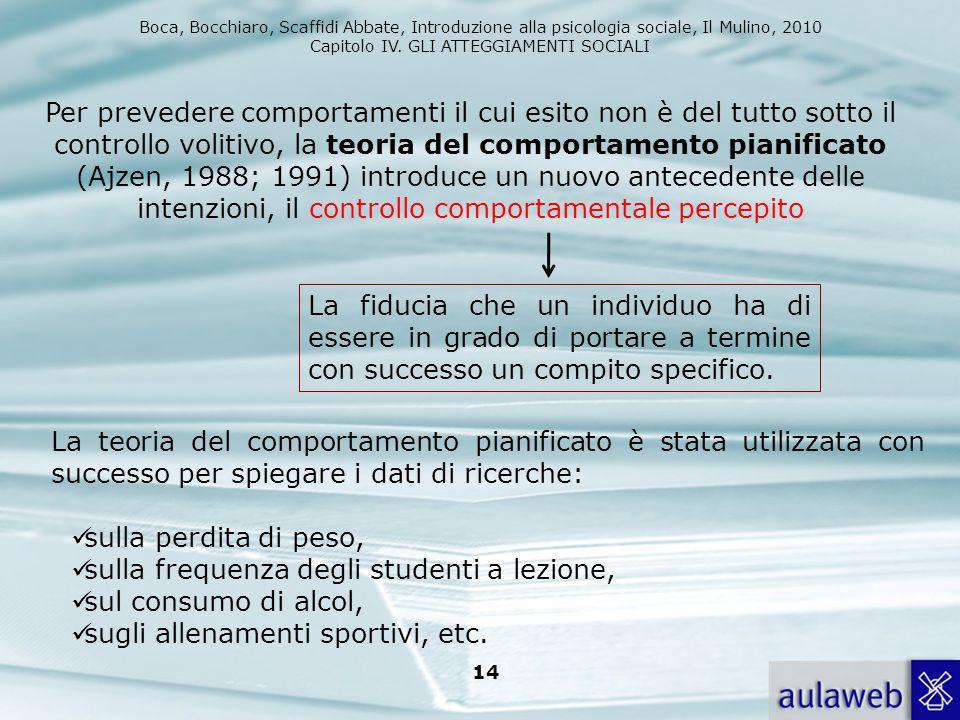 Boca, Bocchiaro, Scaffidi Abbate, Introduzione alla psicologia sociale, Il Mulino, 2010 Capitolo IV. GLI ATTEGGIAMENTI SOCIALI 14 Per prevedere compor