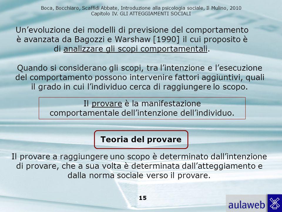 Boca, Bocchiaro, Scaffidi Abbate, Introduzione alla psicologia sociale, Il Mulino, 2010 Capitolo IV. GLI ATTEGGIAMENTI SOCIALI 15 Un'evoluzione dei mo