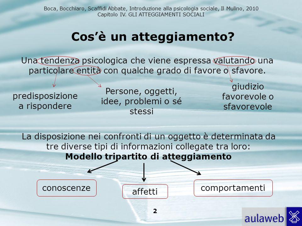 Boca, Bocchiaro, Scaffidi Abbate, Introduzione alla psicologia sociale, Il Mulino, 2010 Capitolo IV. GLI ATTEGGIAMENTI SOCIALI 2 Una tendenza psicolog