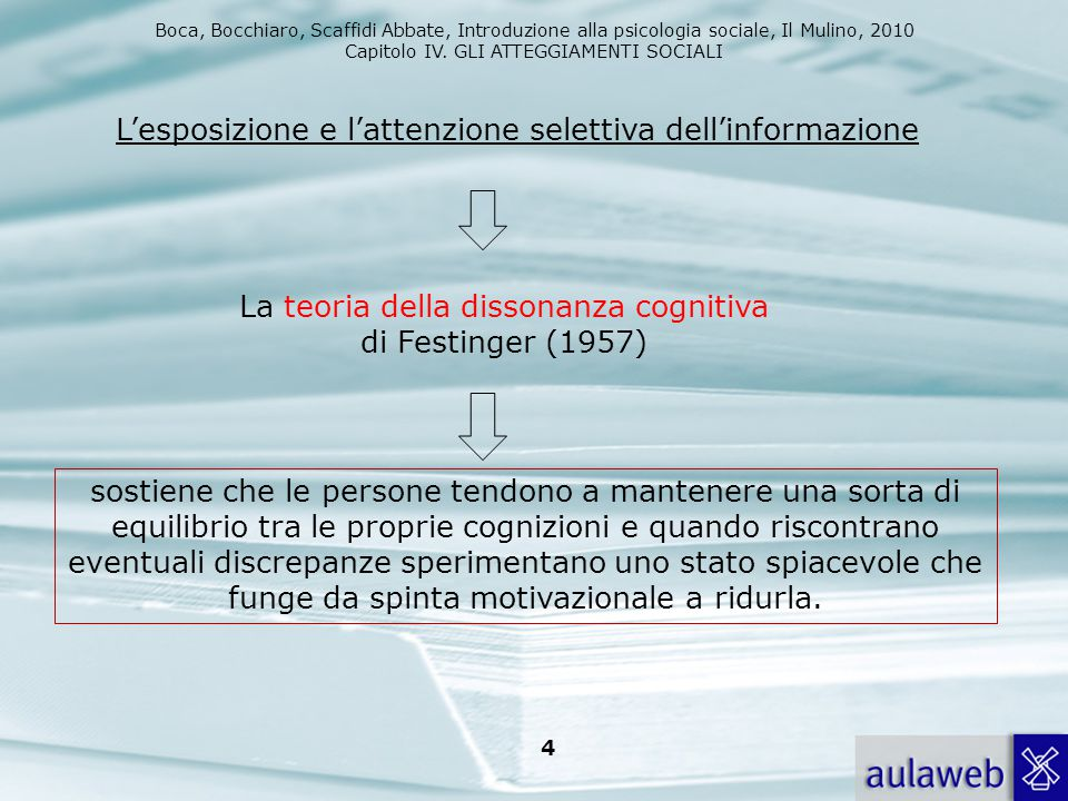 Boca, Bocchiaro, Scaffidi Abbate, Introduzione alla psicologia sociale, Il Mulino, 2010 Capitolo IV. GLI ATTEGGIAMENTI SOCIALI 4 L'esposizione e l'att