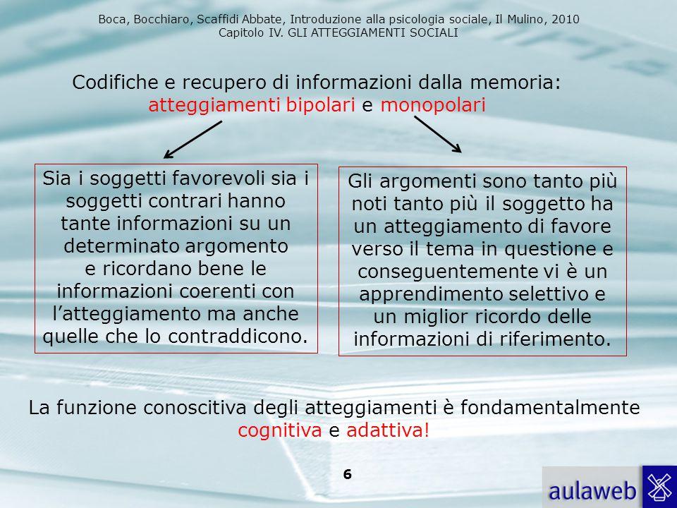 Boca, Bocchiaro, Scaffidi Abbate, Introduzione alla psicologia sociale, Il Mulino, 2010 Capitolo IV. GLI ATTEGGIAMENTI SOCIALI 6 Codifiche e recupero