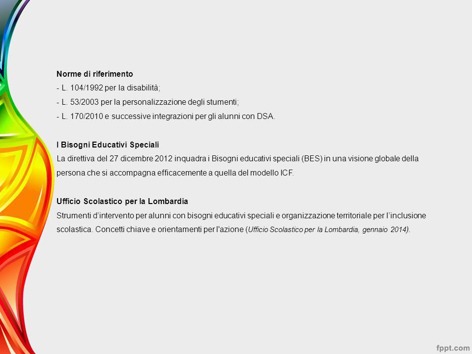 Norme di riferimento - L. 104/1992 per la disabilità; - L. 53/2003 per la personalizzazione degli stumenti; - L. 170/2010 e successive integrazioni pe