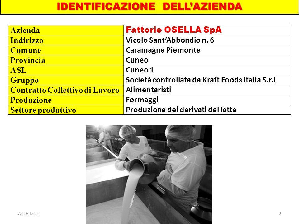 2 IDENTIFICAZIONE DELL'AZIENDA Azienda Fattorie OSELLA SpA Indirizzo Vicolo Sant'Abbondio n. 6 Comune Caramagna Piemonte Provincia Cuneo ASL Cuneo 1 G