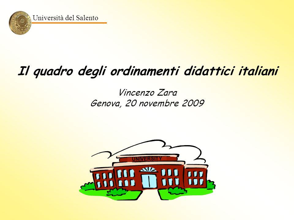 Il quadro degli ordinamenti didattici italiani UNIVERSITY Vincenzo Zara Genova, 20 novembre 2009 Università del Salento
