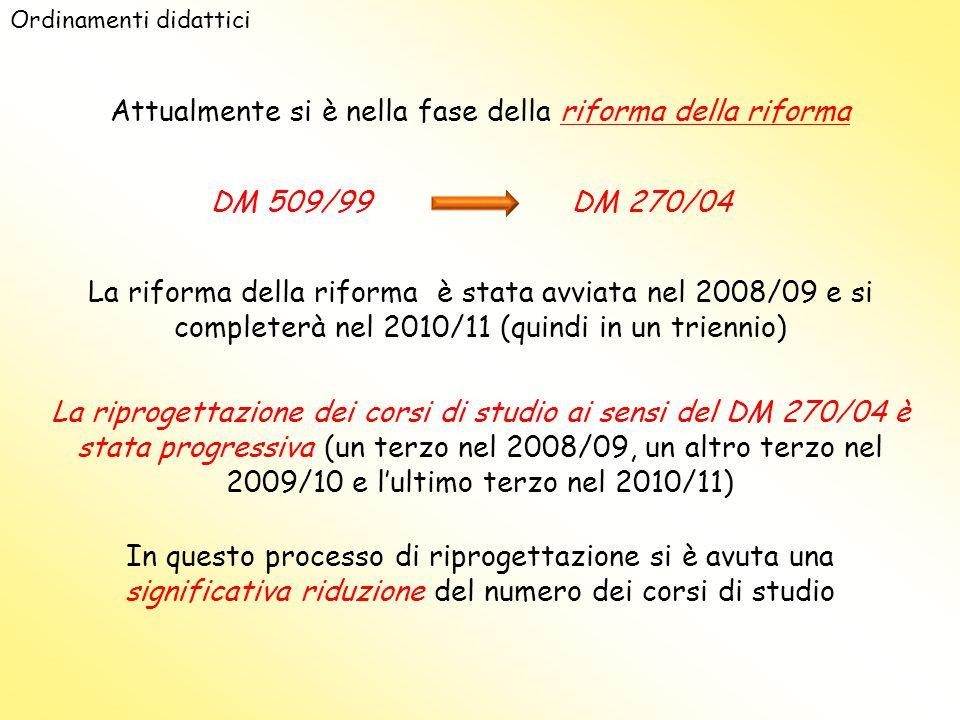Ordinamenti didattici Attualmente si è nella fase della riforma della riforma DM 509/99 La riforma della riforma è stata avviata nel 2008/09 e si completerà nel 2010/11 (quindi in un triennio) La riprogettazione dei corsi di studio ai sensi del DM 270/04 è stata progressiva (un terzo nel 2008/09, un altro terzo nel 2009/10 e l'ultimo terzo nel 2010/11) In questo processo di riprogettazione si è avuta una significativa riduzione del numero dei corsi di studio DM 270/04
