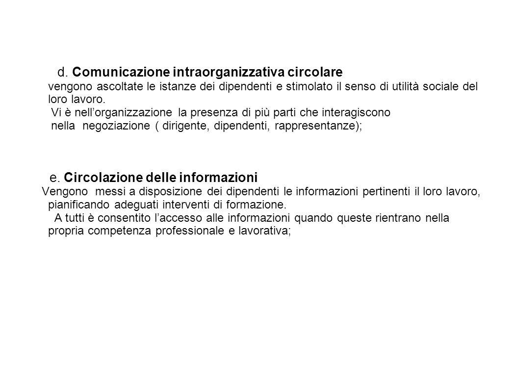 d. Comunicazione intraorganizzativa circolare vengono ascoltate le istanze dei dipendenti e stimolato il senso di utilità sociale del loro lavoro. Vi