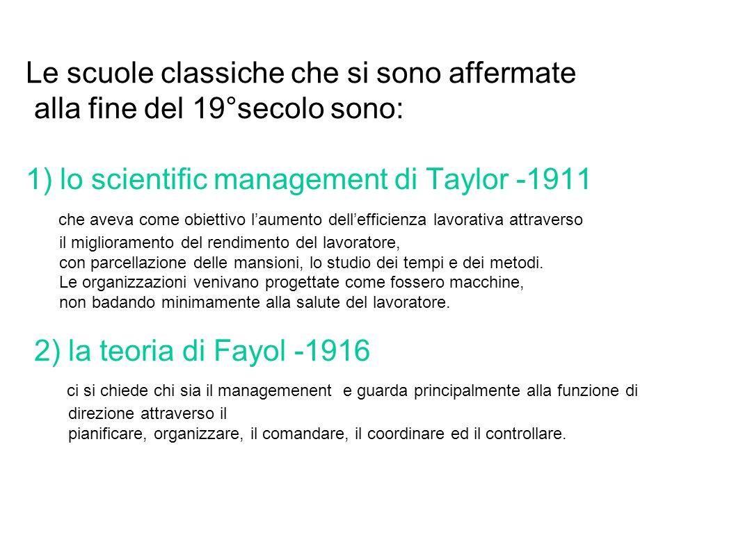Le scuole classiche che si sono affermate alla fine del 19°secolo sono: 1) lo scientific management di Taylor -1911 che aveva come obiettivo l'aumento dell'efficienza lavorativa attraverso il miglioramento del rendimento del lavoratore, con parcellazione delle mansioni, lo studio dei tempi e dei metodi.