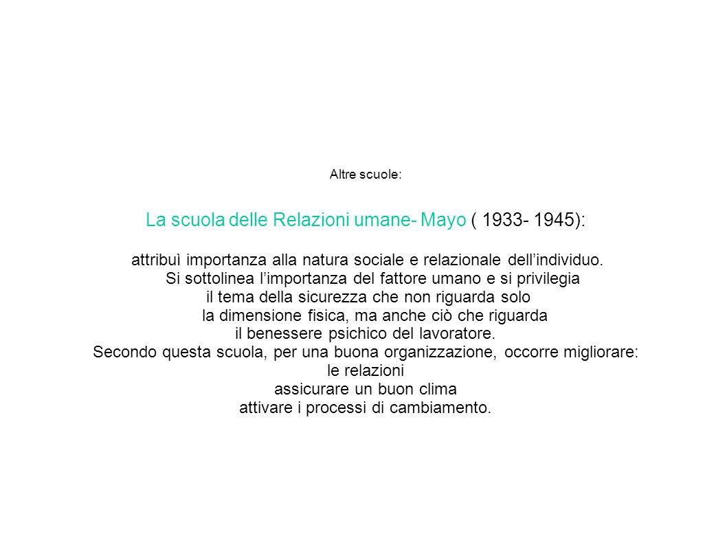 Altre scuole: La scuola delle Relazioni umane- Mayo ( 1933- 1945): attribuì importanza alla natura sociale e relazionale dell'individuo.