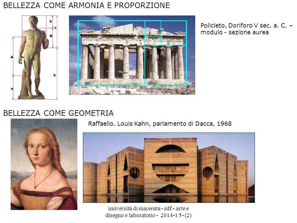università di macerata - sdf - arte e disegno e laboratorio - 2014-1 5- (2) BELLEZZA COME ARMONIA E PROPORZIONE Policleto, Doriforo V sec.