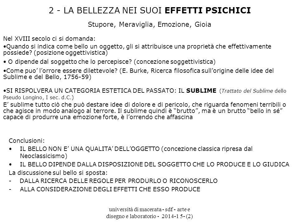università di macerata - sdf - arte e disegno e laboratorio - 2014-1 5- (2) 2 - LA BELLEZZA NEI SUOI EFFETTI PSICHICI Stupore, Meraviglia, Emozione, G