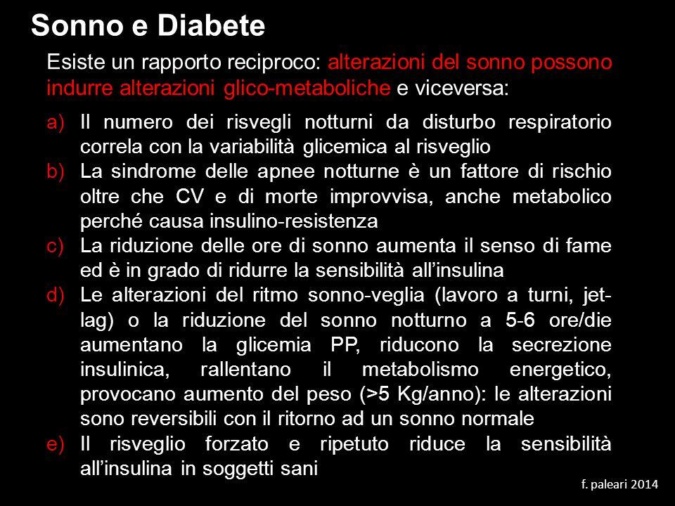 Sonno e Diabete Esiste un rapporto reciproco: alterazioni del sonno possono indurre alterazioni glico-metaboliche e viceversa: a)Il numero dei risvegl